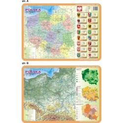 PODKŁADKA EDUKACYJNA 40X30 CM -  Ogólnogeograficzna i administracyjno-drogowa mapa Polski 062