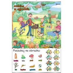 Plansza Poszukaj na obrazku - Rodzina w ogrodzie