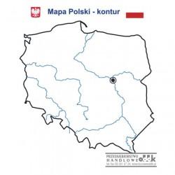 Konturowa mapa Polski - nakładka magnetyczna