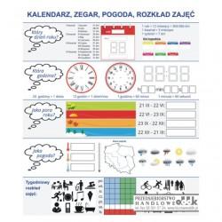Kalendarz, zegar, pogoda - nakładka magnetyczna